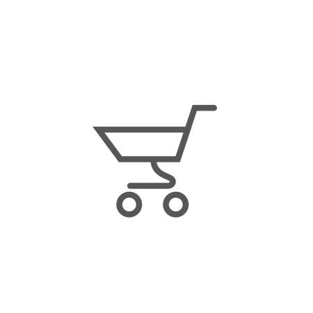 Black and white simple vector outline line art supermarket trolley icon Illustration