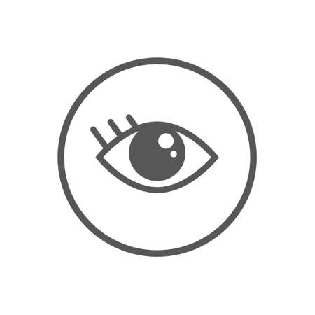 Black and white simple vector flat art icon of eye in a round frame