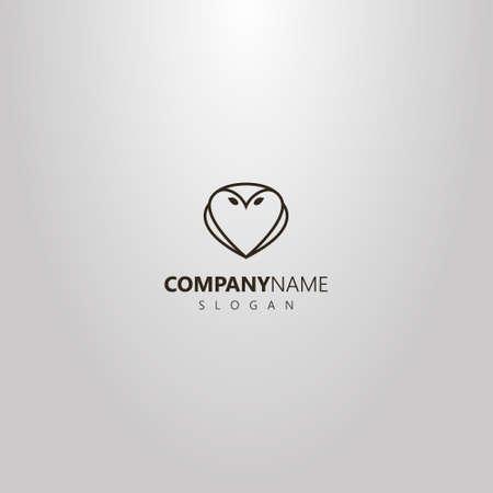 black and white simple line art outline logo of owl shape