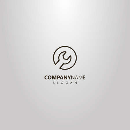 black and white simple vector isolated logo of line art wrench in a round frame