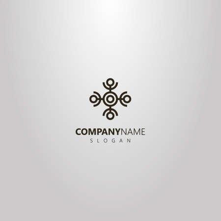 Logotipo geométrico vectorial simple en blanco y negro de un elemento abstracto de un adorno de cuatro humanoides con los brazos levantados Logos