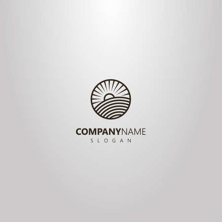 black and white simple vector line art round logo of sun rising over a field