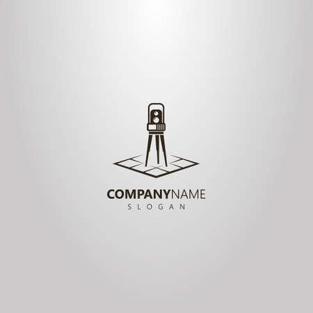 Schwarz-Weiß-Vektor einfaches geometrisches Logo der Totalstation auf einer Rautenkarte Logo