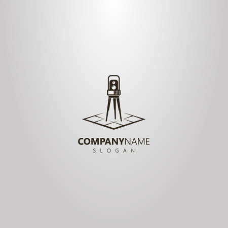 black and white vector simple geometric logo of total station on a rhombus map Illustration