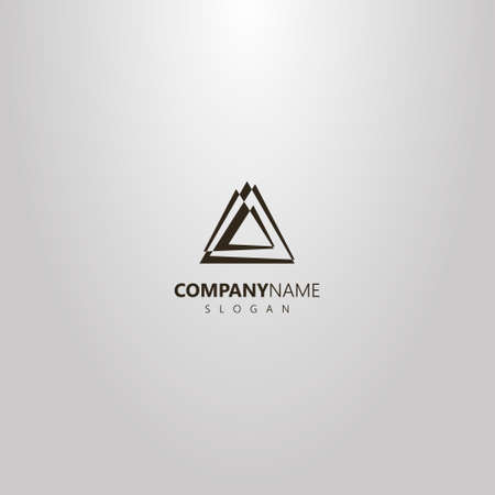 black and white simple vector abstract logo of different size overlaid triangles
