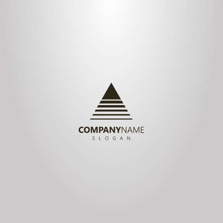 black and white simple vector abstract outline logo of a triangle crossed by lines of different widths
