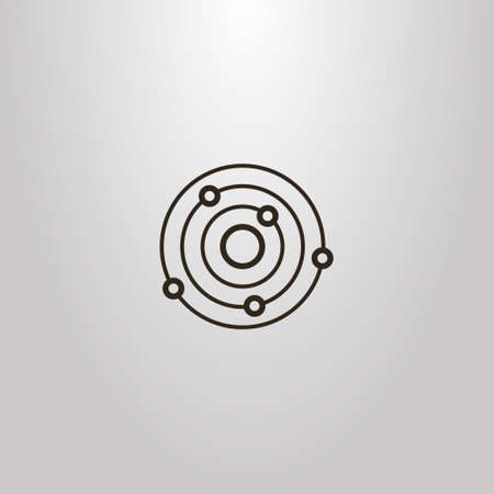 black and white simple vector outline sign of line art planet with satellites Vettoriali