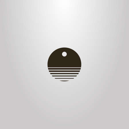 black and white simple vector round negative space sign of abstract water waves under the sun or moon