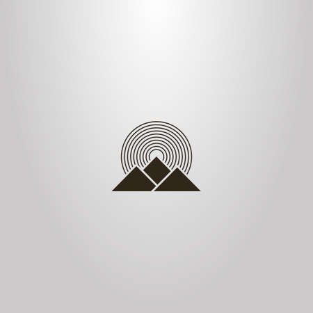 black and white simple vector geometric sign of three mountains and round rays of the sun Ilustração