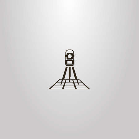 black and white vector simple geometric sign of total station on a map Illustration