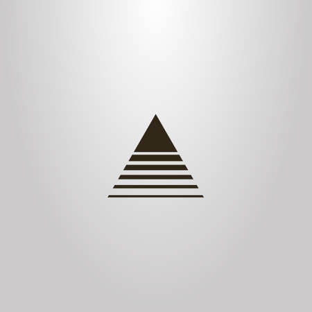 black and white simple vector abstract outline sign of a triangle crossed by lines of different widths