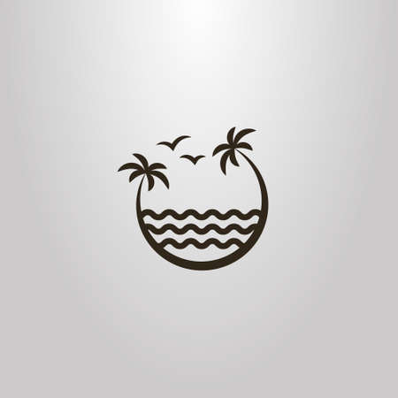 black and white simple vector sign of two palm trees leaning over the sea waves 矢量图像