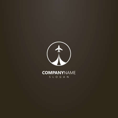white logo on a black background. simple vector isolated logo of take-off airplane in a round frame Иллюстрация