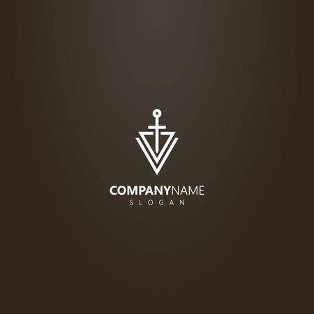 white logo on a black background. simple vector abstract logo of a sword piercing two triangles