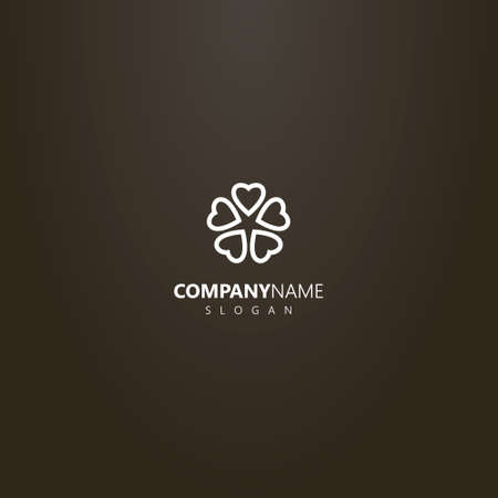 white logo on a black background. simple vector flower logo of five heart-shaped petals