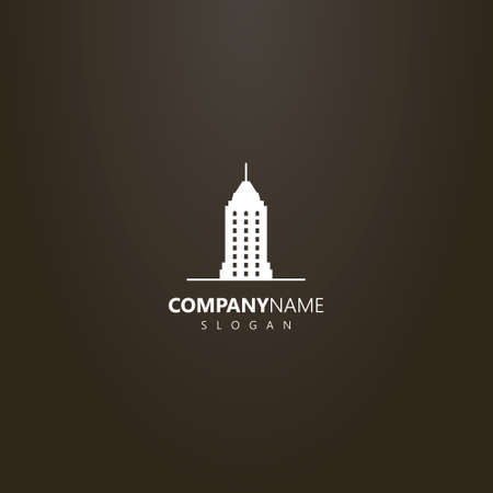 logo blanco sobre fondo negro. logotipo de arte plano vectorial simple de rascacielos con una aguja Logos