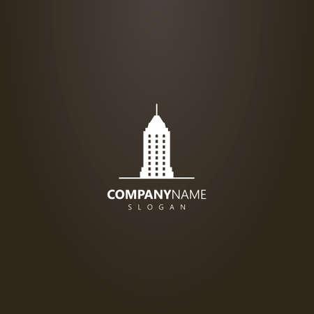 weißes Logo auf schwarzem Hintergrund. einfaches Vektor-flaches Kunstlogo des Wolkenkratzers mit einem Turm Logo