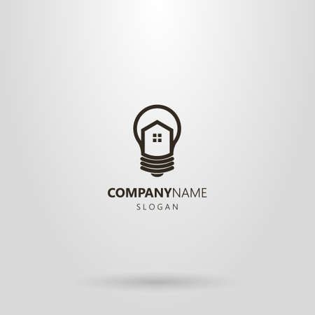 black and white simple vector line art logo of house in a light bulb
