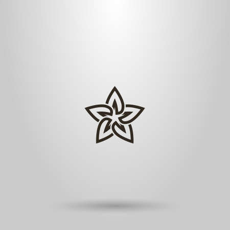 black and white simple vector line art sign of a star-shaped flower with five petals