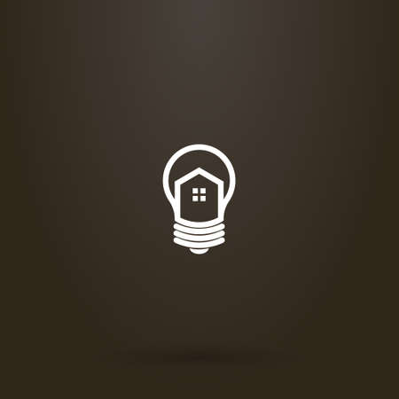white sign on a black background. vector line art sign of house in a light bulb