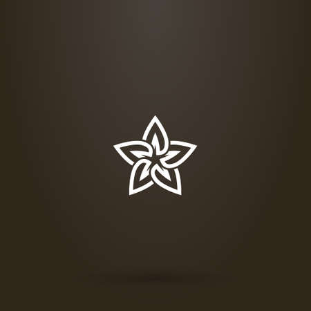 white sign on a black background. vector line art sign of a star-shaped flower with five petals  イラスト・ベクター素材