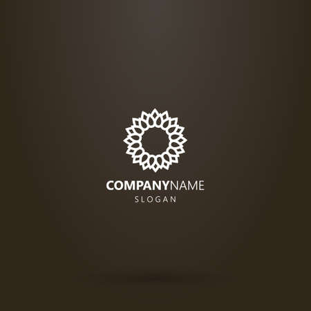 white logo on a black background. simple vector line art logo of a blooming sunflower