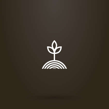 white sign on a black background. simple vector line art sign of a plant grown from a garden bed