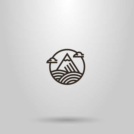 black and white simple vector geometric line art round sign of mountain with snow peak and clouds around