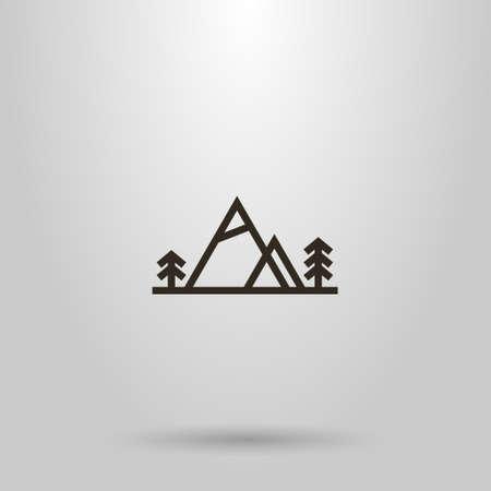 noir et blanc simple vecteur géométrique ligne horizontale signe d'art de deux montagnes et de conifères à côté d'eux Vecteurs