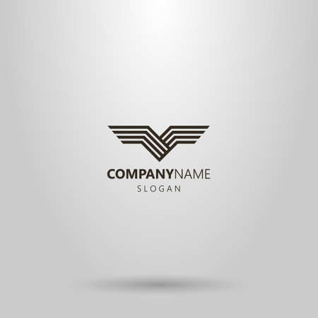 black and white simple line art vector abstract logo of bird wings
