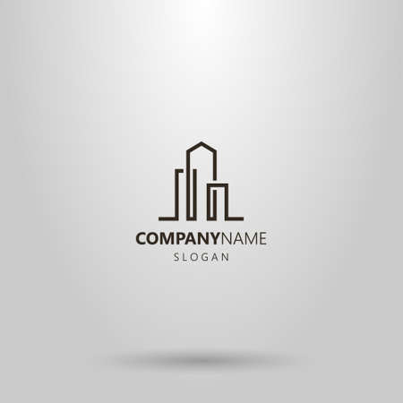 black and white simple vector line art abstract logo of three high-rise buildings