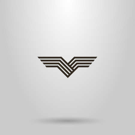 black and white simple line art vector abstract sign of bird wings