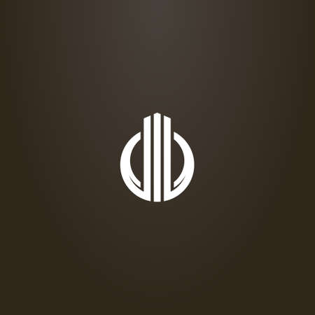 weißes Schild auf schwarzem Hintergrund. einfaches vektorabstraktes Zeichen von drei Säulen, die sich in einem runden Rahmen erheben Vektorgrafik