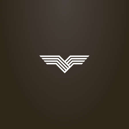 white sign on a black background. simple line art vector abstract sign of bird wings