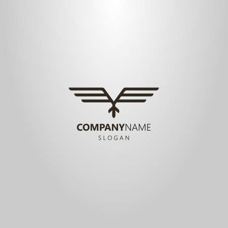 black and white simple line art vector geometric logo of abstract ethnic flying bird