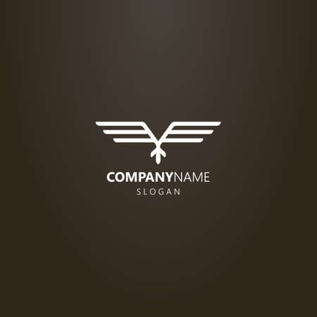 white logo on a black background. simple line art vector geometric logo of abstract ethnic flying bird