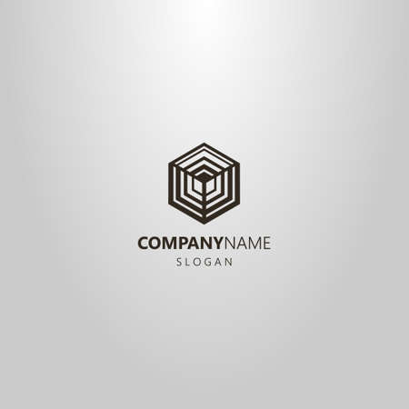 black and white simple vector geometric line art logo of the hexagon cubic structure
