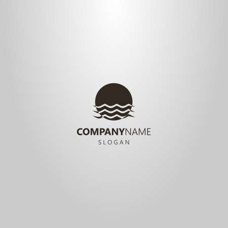 black and white simple vector flat art logo of sun that is immersed in water waves