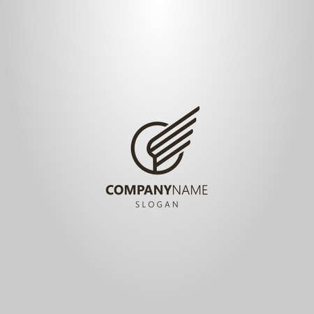 black and white simple vector line art logo of the wing of the bird in a round frame