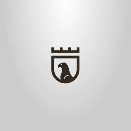 black and white simple vector flat art sign of the eagle profile on the medieval shield