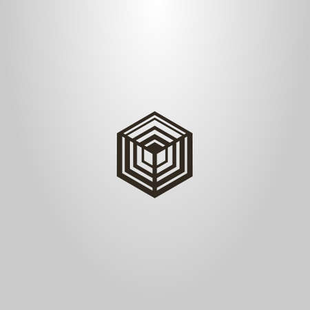 black and white simple vector geometric line art sign of the hexagon cubic structure