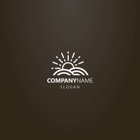 white logo on a black background. simple vector line art logo of sun that rise above the land plot