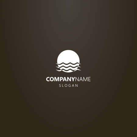 white logo on a black background. simple vector flat art logo of sun that is immersed in water waves