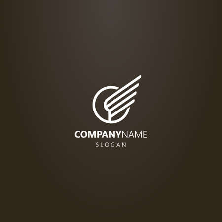 white logo on a black background. simple vector line art logo of the wing of the bird in a round frame Иллюстрация