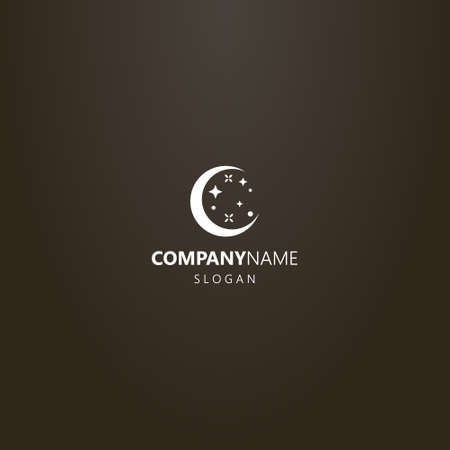 white logo on a black background. simple vector flat art logo of a round young moon with stars
