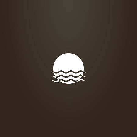 white sign on a black background. simple vector flat art sign of sun that is immersed in water waves