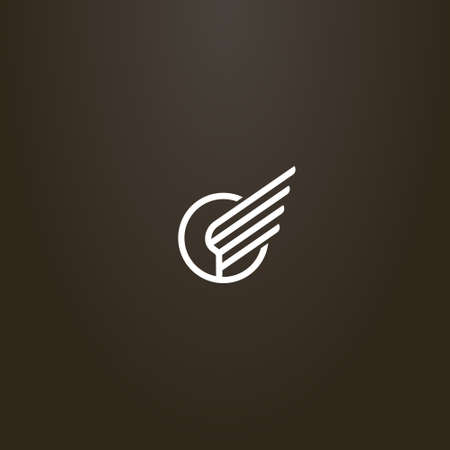 white sign on a black background. simple vector line art sign of the wing of the bird in a round frame Иллюстрация