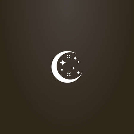 white sign on a black background. simple vector flat art sign of a round young moon with stars