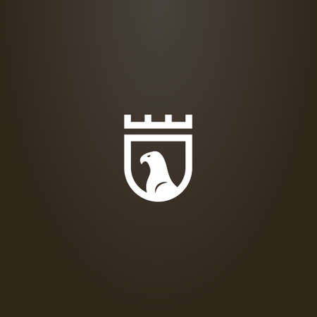 white sign on a black background. simple vector flat art sign of the eagle profile on the medieval shield