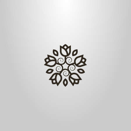 black and white simple line art vector round sign of flower wreath of five flowers Ilustração
